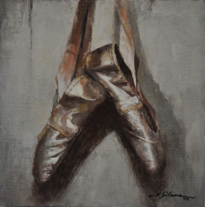 """Silver Ballet Slippers"" - 12"" x 12"" - Oil"