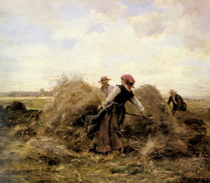 "Julien Dupre (1851-1910) - ""The Harvesters"" - 15"" x 18"" - Oil (1889)"
