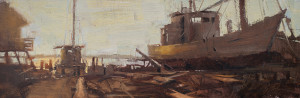 "Suzie Baker - ""Easton Log Built Boat"" - 10"" x 30"" - Oil"
