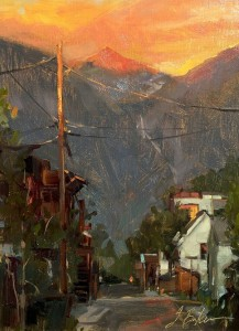 """Alpenglow"" - 9"" x 12""  -  Oil  (2017. Telluride Plein Air Festival, Winner of Artist Choice;  7th Annual Plein Air Salon Competition, Best Plein Air August/September, 2017)"
