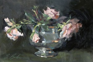 """Roses in Carafe"" - 5: x 8"" - Oil"