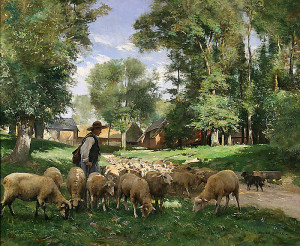 "Julien Dupre - ""A Shepherd and His Flock"" - 25.5"" x 32.75"" - Oil"