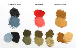 "Palette selection for ""Out of Bounds"". Top row are the three colors used to create the painting; bottom row represents some of the mixtures of green that could be achieved using  Chromatic Black and Yellow Ochre."