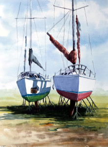 """Up for Repairs-Cove Harbor"" - 16"" x 12"" - Watercolor"