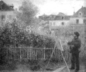 "Pierre Auguste Renoir  -  ""Claude Monet Painting in His Garden at Argenteuil""  -  19.69""x 24""  -  Oil  -  1875"