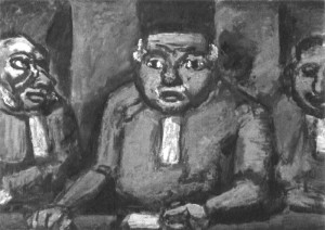 "Georges Rouault  -  ""The Three Judges""  -  21.88""x 41.62""  -  Gouache and Oil  -  1913"