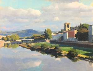 "Joe Paquet - ""On the Arno"" - 24"" x 30"" - Oil  (The foundation for the painting was established when Paquet carefully considered, and united, the shadow patterns of he landscape)."