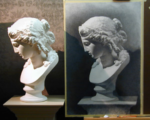 Two points are represented here: drawing from the plaster cast and drawing the image the same size as viewed  using the sight-size method.