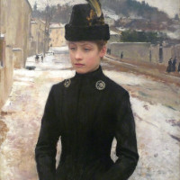 Greys and black on white Emile Friant  (1863-1932)