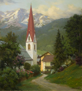 """""""Miracle of the Host"""" (Seefeld, Austria) - 29"""" x 26"""" - Oil"""
