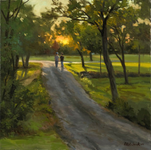"""""""7:31 PM"""" (Plein Air) - 20"""" x 20"""" - Oil (Framed: 28"""" x 28"""") - $4800.00. Painted over several days while standing at the end of my driveway"""
