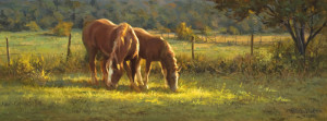 """Green Pasture, Good Companion"" - 9"" x 23.75"" - Oil (Framed: 16"" x 31"") - $2550.00."