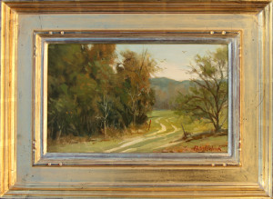 """""""Pathway"""" (Plein Air) - 7.68"""" x 12.68"""" - Oil (Framed: 13"""" x 18"""") - $1600.00. I loved painting on this ranch in East Texas. Several days of uninterrupted, intensive outdoor painting contributes to the storehouse of memories and teaches the artist the awesome subtleties of nature. Special Christmas Price: $1360.00"""