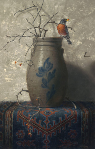 """Fear Not Little Bird"" - 28"" x 18"" - Oil  (Finalist 2017, Richeson 75 Online: Animals, Birds, Wildlife; Merit Award 2017, National Oil and Acrylic Painters Society Online Competition)"