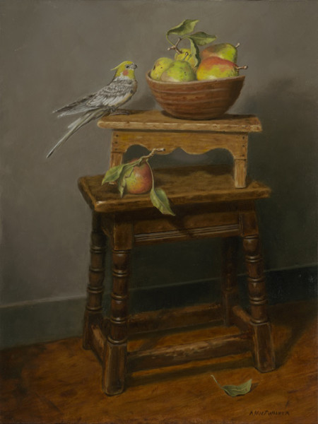 """Jesse's Pears"" - 24"" x 18"" - Oil  (Merit Award 2014, Portrait Society of America Members Only Competition; Award of Merit 2015, American Women Artists Online Juried Show; Finalist 2014, International Artist Magazine Competition)"