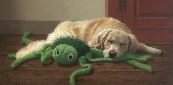 """Mo and Spidey"" - 12"" x 24"" - Oil  (Finalist, Artistic Excellence 2017, Southwest Art Magazine; Meritorious Award, 2018, Richeson 75 Online: Animals, Birds, Wildlife)"