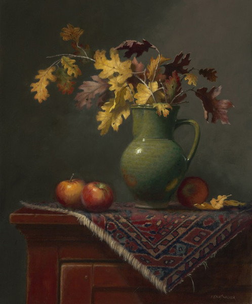 """Pieces of Autumn"" - 20"" x 24"" - Oil  (Finalist 2016, Portrait Society of America Members Only Competition; Finalist 2016, Art Renewal Center Salon; Merit Award 2016, National Oil and Acrylic Painters Society Online Competition)"