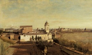 """""""Church of Trinita dei Monti as seen from the Villa Medici Rome"""""""