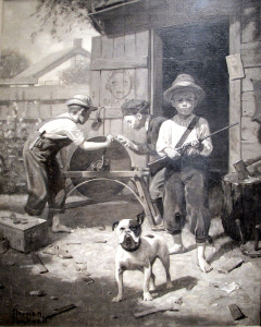 This painting, using just black and white, shows Rockwell's masterful control of a paintings value structure