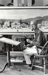 "Rockwell in his studio with ""Stockbridge Main Street at Christmas"" on the easel."