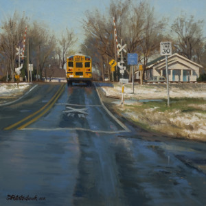 """""""A March School Day"""" - 16""""x 16"""" - Oil   (3rd Place, Oil Painters of America Western Regional - 2010)"""
