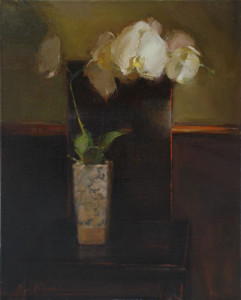 """(American Art Collector Magazine Award of Excellence) - Olga Krimon - """"Orchid on Japanese Chair"""" - 20""""x 16"""" - Oil"""