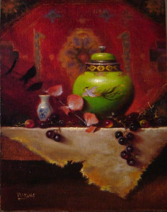 """(Award of Excellence) - Tim Perkins - """"Asian Green with Persian"""" - 14""""x 11"""" - Oil"""