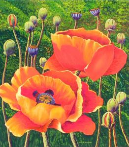 """Two Poppies"" - 40""x 36"" - Acrylic"