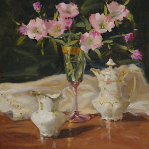 """(Award of Excellence) - Judy Crowe - """"China and Primroses"""" - 12""""x 12"""" - Oil"""