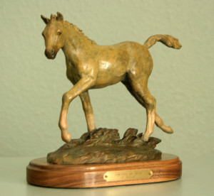 "First Place ( Sculpture category) - Marianne Caroselli - ""Struttin' My Stuff"" - 8""x10""x5' - Bronze"