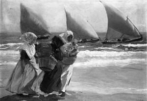 "Joaquin Sorrolla y Bastida - ""Three Sails"" - 38""x 54"" - Oil - 1903"