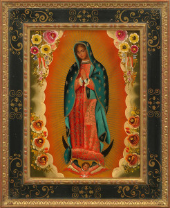 """Our Lady of Guadalupe"" is framed in an Italian Cassetta Frame with a sgraffito panel, and a bead and sausage detail to the inner lip."