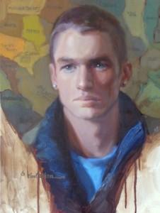 """""""James' Game of Risk"""" - 18""""x 14"""" - Oil (Merit Award, Salon International, 2011)"""