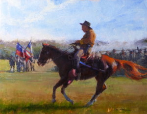 """""""Scout Arriving"""" - 24""""x 30"""" - Oil"""