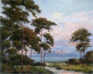 """Evening Cypress"" - 16""x 20"" - Oil"