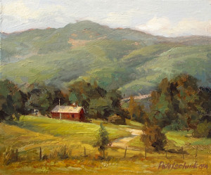 """Hillside Farm"" - 6.5""x 7.68"" - Oil"