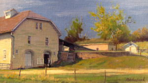 """Limestone Barn - Tallgrass Prairie National Preserve"" - 8""x 14"" - Oil"
