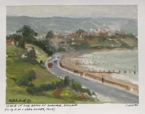 """In 1990, I had just discovered that I could create my oil studies on paper. Prepared with an acrylic gesso ground, these 5.5""""x 8.5"""" sheets made transporting finished work easy. This is a view just down the road from my Uncle's place in Swanage."""