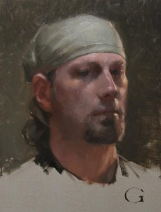 """""""Self Portrait"""" 12""""x 9"""" - Oil on canvas (Alla prima looking at a mirror)"""