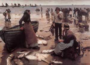 """Stanhope Forbes - """"A Fish Sale on a Cornish Beach"""" - 47.64""""x 61"""" - Oil (1885)"""