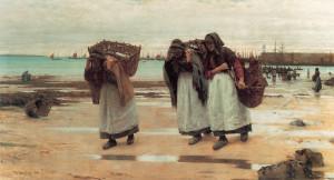 """Walter Langley - """"The Breadwinners"""" - 45.5""""x 84"""" - Oil (1886)"""