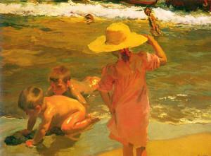 """Children on the Seashore"" - 38""x 51"" - Oil (1903)"