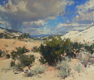 """Sandstone, Cedar, Sage, and Sky"" - 26""x 30"" - Oil"