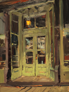 """Suzi Baker - """"A Negative View on Saloons"""" - 16""""x 12"""" - Oil (Artist's Choice-Quick Draw)"""