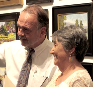 Southwest Gallery owner, Bob Malenfant with Outdoor Painters Society President, Tina Bohlman