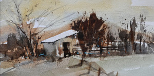 """Beverly Boren - """"The Shed"""" - 6""""x 12"""" - Watercolor   (Honorable Mention)"""