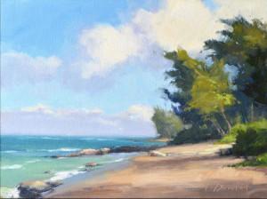 "Laurel Daniel - ""Beach Shadows"" - 9""x 12"" - Oil (Award of Merit)"