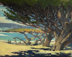 "Mark Farina - ""Carmel Beach Cypress Trees"" - 11""x 14"" - Oil (Honorable Mention)"