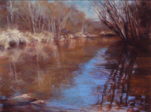 """Dina Gregory - """"Blues on the Brazos"""" - 9""""x 12"""" - Oil (People's Choice)"""