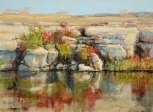 "Bob Rohm - ""Fall River Cliff"" - Oil   (Award of Excellence)"